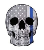 Subdued Grey American Flag Skull With Thin Blue Line Embroidered Biker Patch