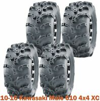 10-16 Kawasaki Mule 610 4x4 XC Complete Set ATV Tires 26x9-12 Super Lug Mud