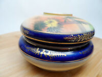Antique Nippon Hand Painted Palm Trees? Hair Receiver Trinket Box
