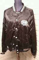 Barqs Root Beer Satin Quilted Baseball Jacket Mens Collectible Vintage Black