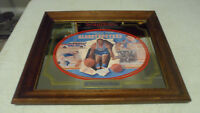 RARE VINTAGE SEAGRAM'S WHISKEY HARLEM GLOBETROTTERS WOOD FRAMED BEER MIRROR SIGN