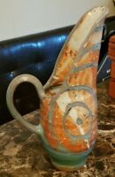 VINTAGE Hand Made Clay Pottery Large PITCHER 14
