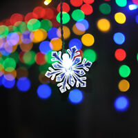 LED Icicle Style Holiday Lights w/ Snowflakes Dual Color 176 LED 16' W x 2' H