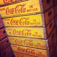 1 Vintage 1960's Yellow Coke Coca Cola In Bottles Wood Soda Pop Crates