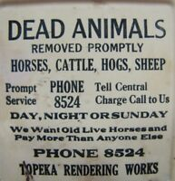 DEAD ANIMALS REMOVED PROMPTLY TOPEKA RENDERING WORKS Old Tin Sign Match Holder