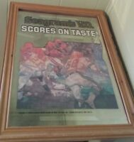 VINTAGE FRAMED MIRRORED GLASS BAR SIGN SEAGRAM'S V.O. SCORES ON TASTE FOOTBALL