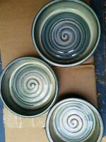 Bill Campbell Signed pottery  - 3 NESTING BAKING DISHES! Beautiful Perfect Set.