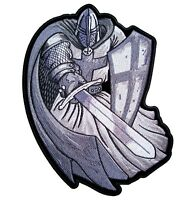 Christian Crusader Templar Knight W Sword Silver Embroidered Biker Patch