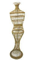 Vintage Full Size Female Wicker Dress Form Mannequin Store Display Form 60