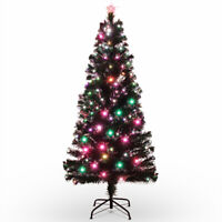 7FT Artificial Pre-lit Christmas Tree w/ Color LED Lights & Metal Stand, Green