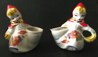Antique Hull Pottery Little Red Riding Hood Open Sugar and Creamer (Pitcher)