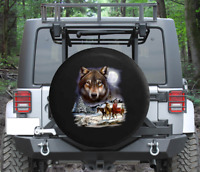 Spare Tire Cover Native American Wolf Snowy Full Moon Wrangler RV
