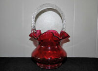 Fenton Glass cranberry basket with clear twist handle Mint with sticker 8