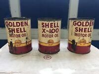 vintage shell oil cans - 2 Golden shell & 1 Shell X-100 (quarts)