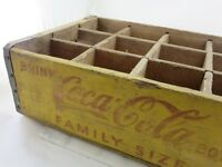 VINTAGE YELLOW WOODEN COKE FAMILY SIZE 12 BOTTLE CRATE CARRIER COCA COLA
