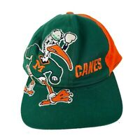 1bbd49394dc Vtg Miami University Hurricanes Huge Logo Snapback Hat Football Sports Cap