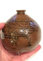Mid Century Stoneware Pottery Vase Weed Pot Small Danish Modern Grey Brown Wine