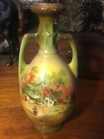 Antique German Two-Handled Porcelain Vase Country Cows Farmer Scene