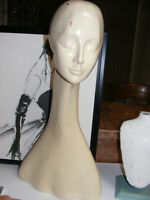 Vintage Female MANNEQUIN HEAD Long STRETCHED Neck Mannequin Display for 4 hats