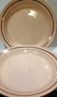 2 Art Deco Boch Freres La Louviere Belgium Pink with Gold Accents Dinner Plates