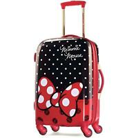 21 Disney Minnie Mouse Red Bow Hardside Spinner Suitcase Trolley Travel Bag New