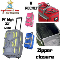 Duffel Bag Rolling Wheeled 8 Pocket Travel Luggage Suitcase Trolley Bag Outdoor