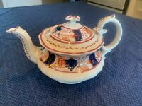 Antique Staffordshire Pink Lustre Teapot with Imari Pattern