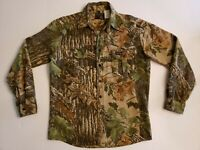 Vintage Rattlers Brand Shirt RealTree Camo Chamois Heavy Cotton Button Up Mens M