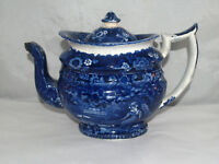ANTIQUE HISTORIC BLUE STAFFORDSHIRE CHINA TEAPOT WOMAN ONE STORY BUILDING