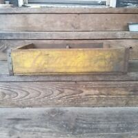 Vintage Yellow Wooden Coca Cola Coke Bottle Crate Carrier Box 4 6pack carrier