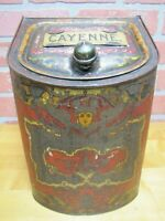 Antique Country Store Display Tin Cabinet CAYENNE Spice CINNA & CO NY Cherub