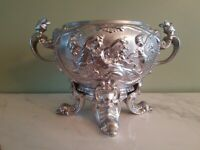 Antique French Silver Plate Kerosene Oil Lamp Base - Handled Jardiniere Planter