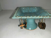 Pedestal Pottery Earring & Trinket Holder Handcrafted signed by Maker T. SHEA