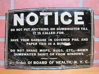 1930s NYC DUMBWAITER Sign Embossed Tin New York City Board of Health Garbage Ad