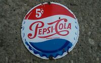 Old Vintage PEPSI-COLA 5 CENTS porcelain metal sign beverage soda pop
