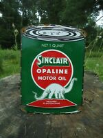 1950'S RARE VINTAGE SINCLAIR OPALINE MOTOR OIL CAN PORCELAIN GAS STATION SIGN!