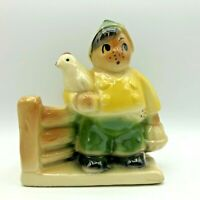 Vintage Ceramic Planter Boy Holding Chicken Basket of Eggs Fence Shawnee USA 645