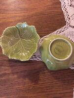 2-OLFAIRE POTTERY 4370 FROM PORTUGAL GREEN CABBAGE SIDE DISH BOWL