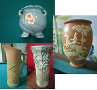 WELLER POTTERY PITCHER PLANTER WILD ROSE FOREST PICK ONE