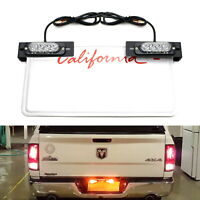 Amber LED License Plate Mount Strobe Warning Light Kit For Truck SUV Car