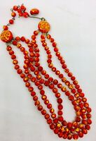 Fabulous Mottled Glass Beaded Necklace Red Triple Strand Vintage Jewelry