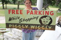 Large Vintage 1960's Piggly Wiggly Grocery Store Gas Oil 40