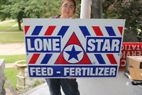 Large Vintage 1960's Lone Star Feed Pig Cow Chicken Farm 36