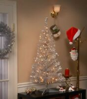 4 Ft Vintage Style Silver Pre-Lit Clear Christmas Tree New