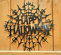 Metal Happy Halloween Sign Front Door Holiday Halloween Party