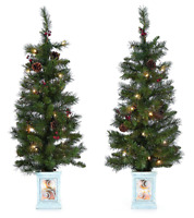 SET OF 2 PRE-LIT 3.5-FT HIGH ARTIFICIAL PORCH TREES w/35 WARM WHITE LIGHTS EACH