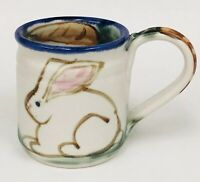 Clouds Folsom RABBIT BUNNY CARROT Hand Thrown Artist Signed Pottery Coffee Mug