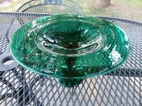 VTG Hand Blown Pairpoint Green Glass Compote Candy Dish Pedestal Centerpiece EUC