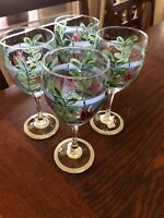 LOT of 4 Gail Pittman Hand Painted Wine Glasses Signed Southern Pottery/Glass