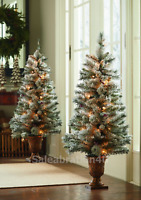 SET OF 2 PRE-LIT 4-FT ARTIFICIAL FLOCKED TREES WITH 35 WARM WHITE LIGHTS EACH